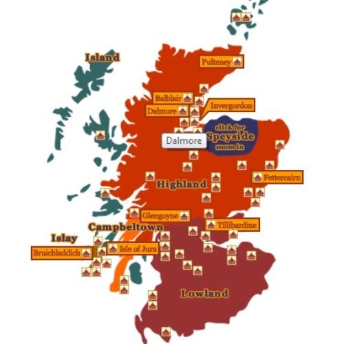 Kaart Schotland met whisky regio's 500