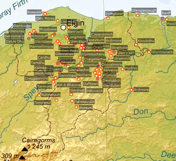 Kaart met distilleerderijen Speyside