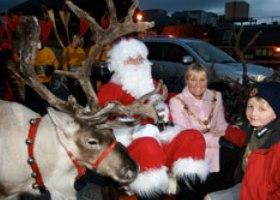 Rendieren met kerstman