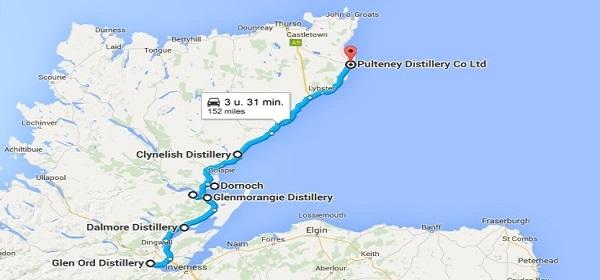 Kaart met distilleerderijen noordelijke Highlands