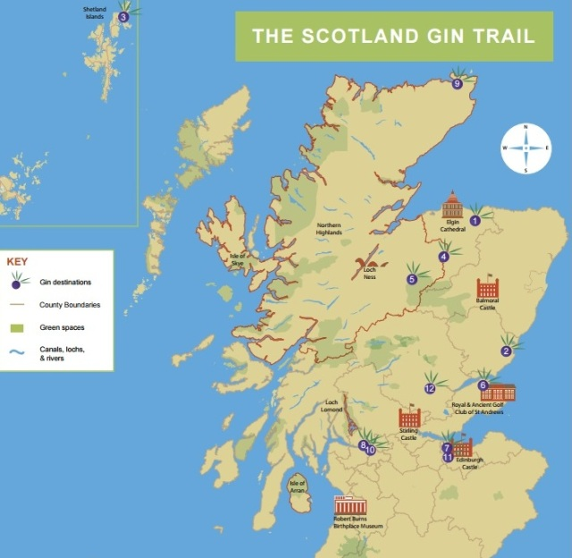 Kaart van The Scotland Gin Trail