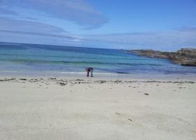 Mobiel Barry speelt aan strand bij Portuairk (1)klein