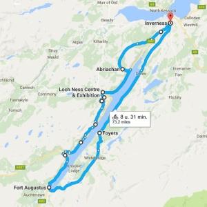 Een rondje Loch Ness kaartje